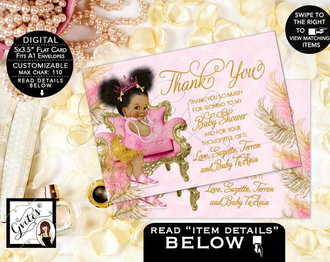 """Baby Shower Thank You Cards, Princess, African American Baby Girl, Pearls, Diamonds, Pink and Gold, 5x3.5"""" 4 Per/Sheet {Pink/Gold Feathers}"""