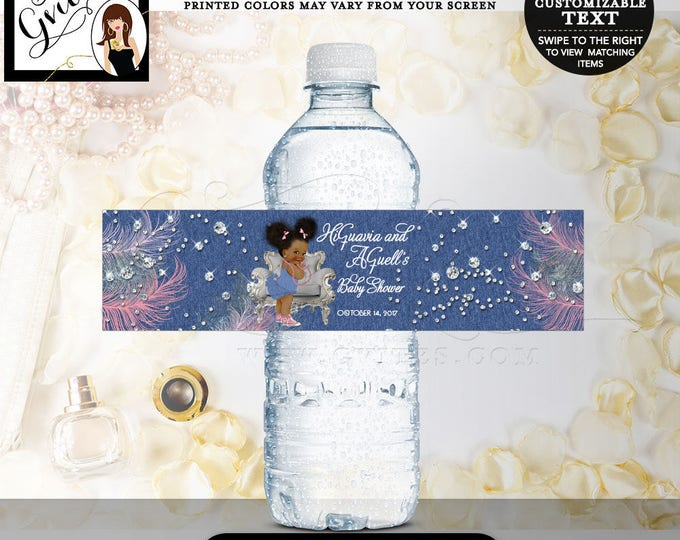 """Denim & Diamonds Water Labels BABY SHOWER, African American stickers favors gifts afro puffs PRINTABLE 8x2"""" 5 Per/Sheet"""