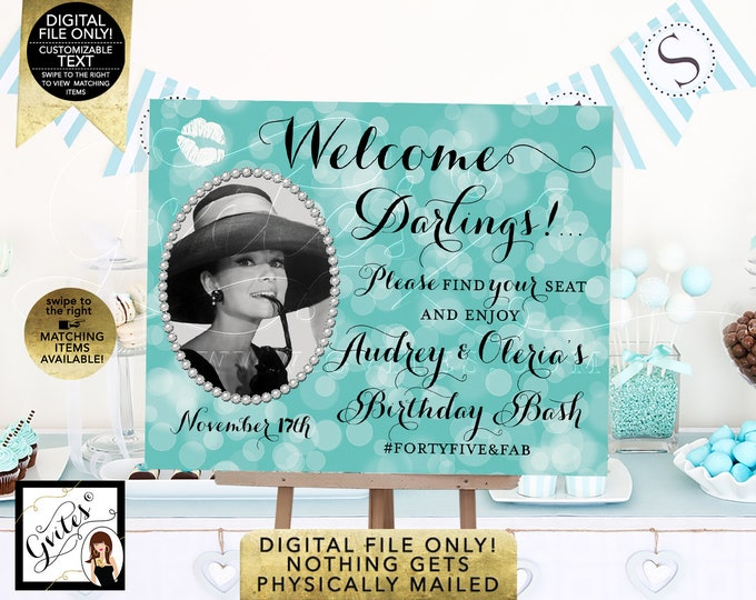Welcome Birthday Signs - Audrey Hepburn Party Themed. Digital File Only!