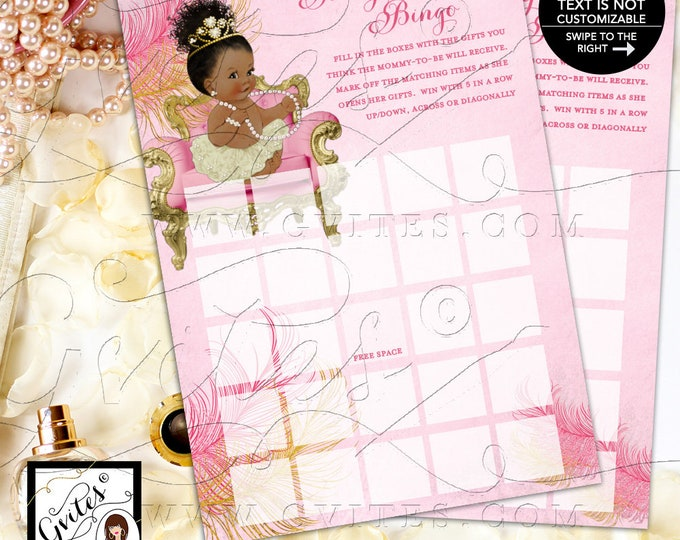 Baby Shower Bingo Printable Game Cards, Pink Ivory and Gold Princess, African American, Afro Bun Tiara INSTANT Download 5x7/2 per sheet