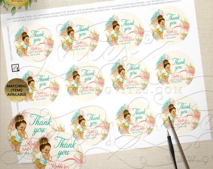 Coral Mint & Gold Round Stickers | African American | Printable Digital File | Tiaras Tutus Diamonds Lace | 2x2/12 Per Sheet | JPG + PDF