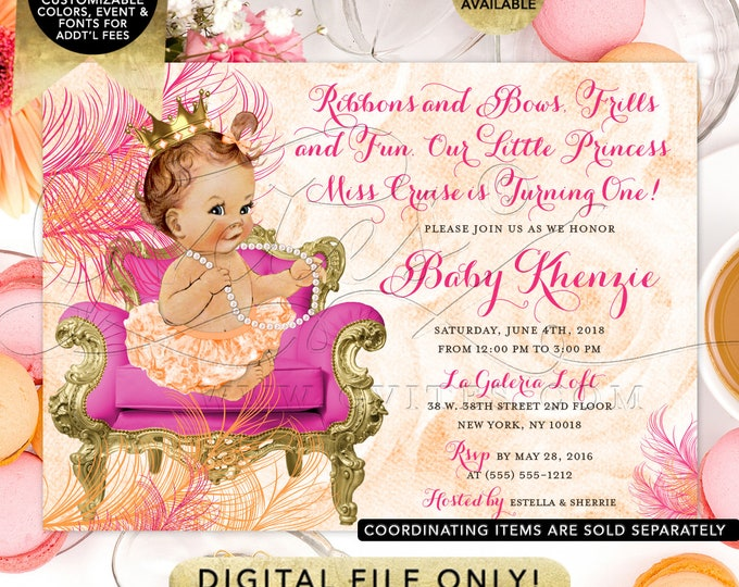 Orange Pink and Gold Princess First Birthday Invitation | Digital Printable File | JPG + PDF Format | 7x5"