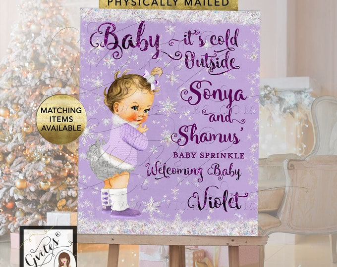 Baby Sprinkle Welcome Sign Lavender and Silver - Baby its cold outside winter wonderland printable signs, Digital File Only!