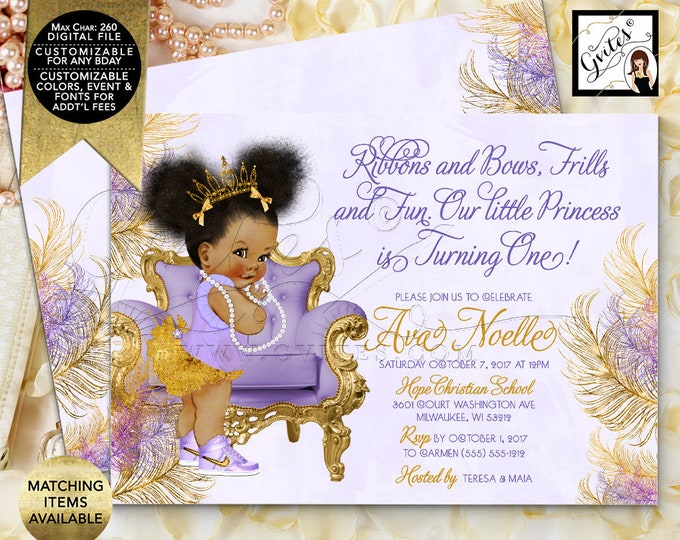 Gold and Lavender First Birthday Invitation, Princess Afro Puffs Invites, Girl Vintage, Printable Invitations Birthday Party, DIY, Digital.
