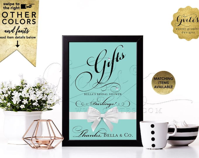 Gifts Sign Bridal Shower Table Decorations, Bride and Co. Breakfast at, Printable, Digital, DIY, Avail Size(s) 4x6, 5x7 & 8x10