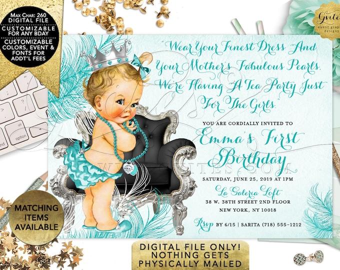 "Breakfast Tea Party Birthday Invitations, Princess First Invites, Printable Digital File, 7x5"""