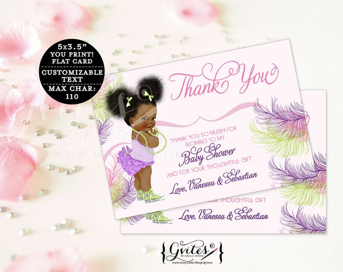 "Thank you baby shower cards, pink purple and green African American note cards, baby thank you flat customizable text. {5x3.5"" 4 Per/Sheet}"