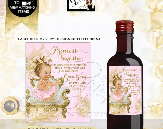 """Pink & Gold MINI Wine Labels baby shower, princess party decor stickers favors gifts. 2x2.5"""" 12 Per/Sheet {White/Gold Feathers}"""
