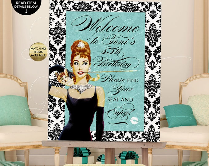 Welcome Birthday Sign Poster, Audrey Hepburn Printable Party Decorations Signage Entrance Decor, Breakfast at, ANY Birthday, Customizable.