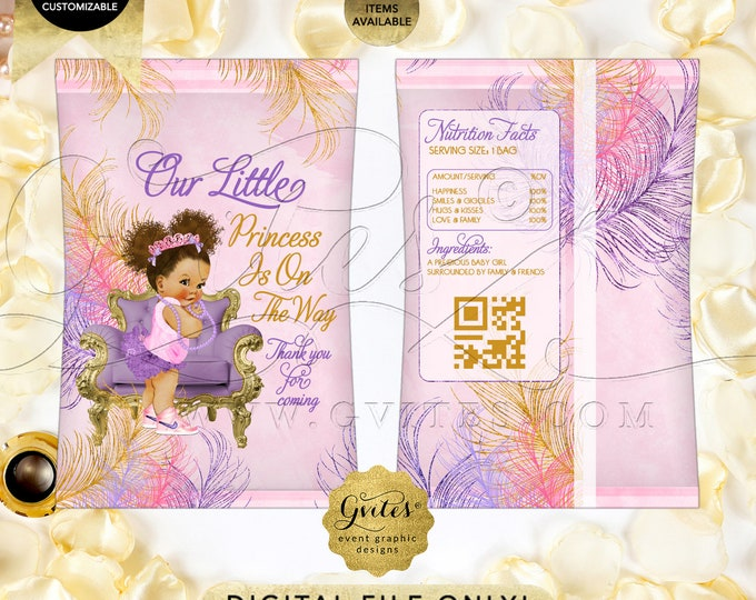Chip Bag Printable INSTANT Download Purple Gold Baby Shower | Ethnic Baby Med/Puffs Curly | Design: TIACH-118 By Gvites