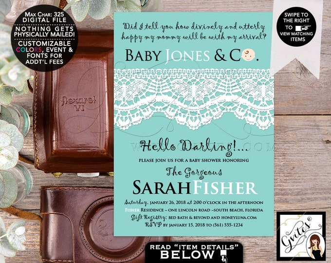 """Baby Shower Baby and Co Boy Printable Invitations, Breakfast at, White Lace Ribbon, Hello Darlings Party Invites Digital, DIY, 5x7"""" Gvites"""