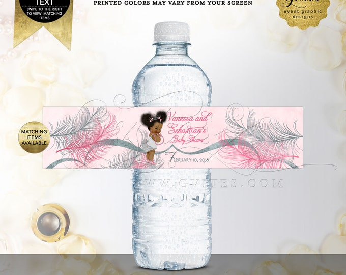 Pink and Silver Water Bottle Labels Baby Shower Party Favors, Afro Puffs Vintage Baby Girl Ethnic. Digital File Only!
