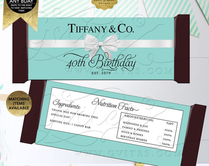 "Candy Bar Wrappers 40th Birthday, Personalized Party Favors Breakfast Customizable Text/Colors & Fonts Per/Sheet 5.25x5.75"" {Satin Ribbon}"