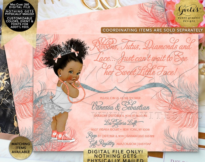 "Coral Baby Shower Invitation | Afro Puffs Vintage | Printable Digital File | JPG + PDF | 7x5"" Double Sided"