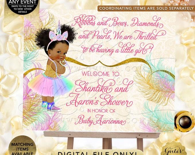 Welcome Unicorn Princess Baby Shower Sign | African American Rainbow Colors | Printable Digital File | JPG + PDF Format.