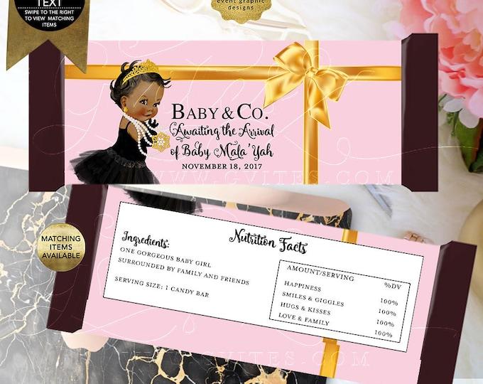 Baby Co Baby Shower | Gold Satin Ribbon | Printable Digital File JPG + PDF | Designed to fit candy bar 1.55oz | 5.25x5.75/2 Per Sheet