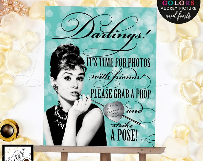 Photo booth Audrey Hepburn party supplies, poster, wall art, CUSTOMIZABLE Audrey Picture, Colors & fonts 8x10""