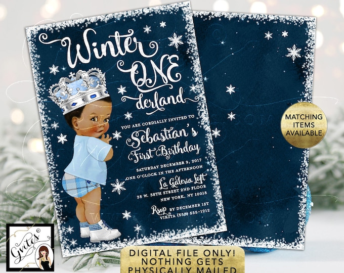 """Winter ONEderland Birthday Invitation, African American Ice Blue Prince Vintage Blue Pants Plaid. Double Sided Printable 5x7"""""""