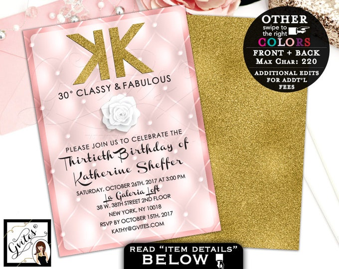 Pink and Gold Invitations, 30th Birthday Blush Pink, Adult Party, Classy and Fabulous, 40th, 50th invites, double sided, digital, DIY, 5x7