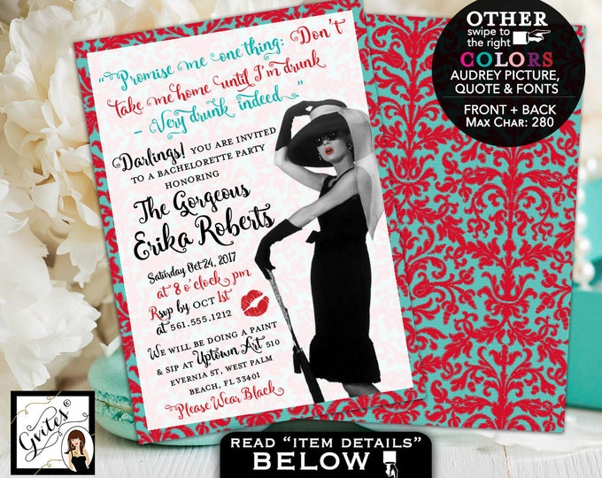 Breakfast at Themed invitations, bachelorette party, lingerie shower, Audrey Hepburn Style, customizable pic/colors/quote. 5x7.