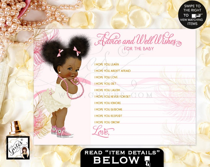 "Baby ADVICE wishes cards, pink gold, african american baby shower girl, diamonds pearls, baby wishes 5x7""2/Per Sheet."