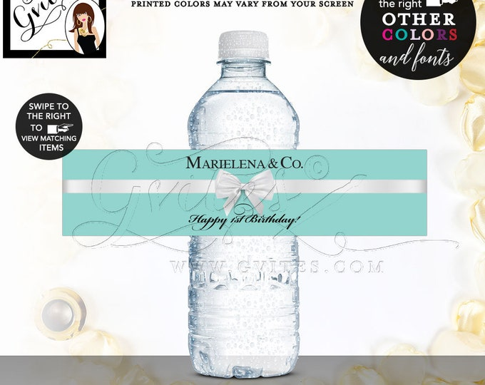 """First Birthday Water Bottle Labels and Co Stickers breakfast at blue 8x2""""/5 Per Sheet Digital File Only! {Realistic Satin Ribbon}"""