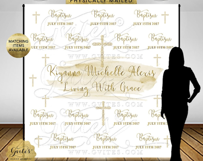 Baptism Step Repeat Backdrop, White and Gold Watercolor, First Communion, Christening, Custom Banners Party Signs, Digital, Printable.