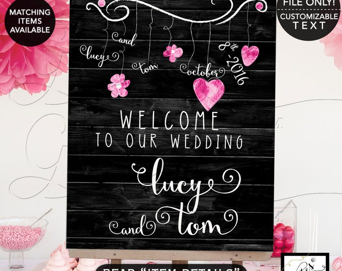 Welcome Wedding Sign, Hearts Black Pink and White, Garland, Rustic Shabby Chic Bridal Printable Double Sided, Template, DIY