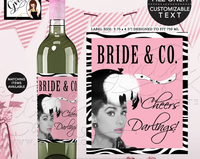 "Bride and Co Wine Labels Audrey Hepburn Printable Party Decor, Pink Breakfast at wine bottle labels  {3.75x4.5""/4 Per Sheet} Gvites"