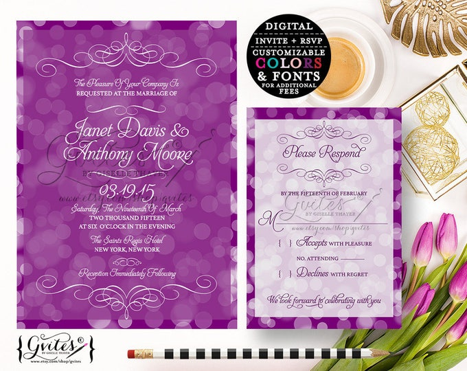 Purple lavender wedding invitation printable, lilac purple white. {Invite + RSVP} You Print!