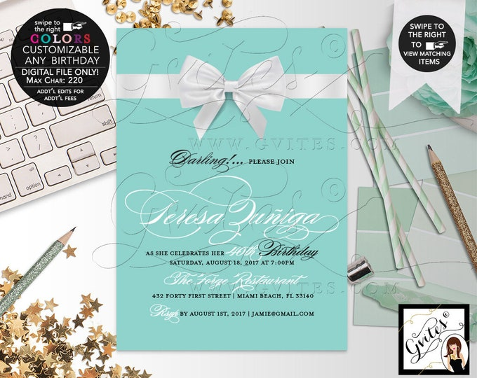 40th Birthday Invitation Breakfast at blue theme, Printable Birthday Invites, Party Audrey Hepburn, DIY, Digital File Only! 5x7""