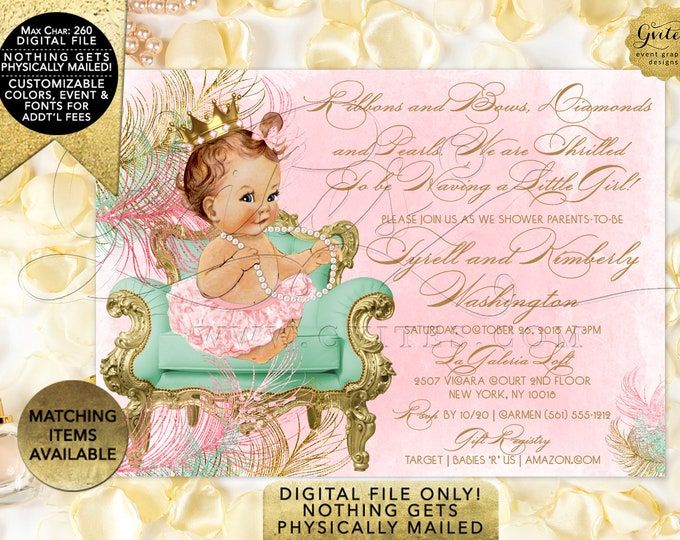 Pink Mint Green and Gold Baby Shower Printable Invitations. Princess Vintage Baby Girl. Digital File Only! JPG + PDF 7x5""
