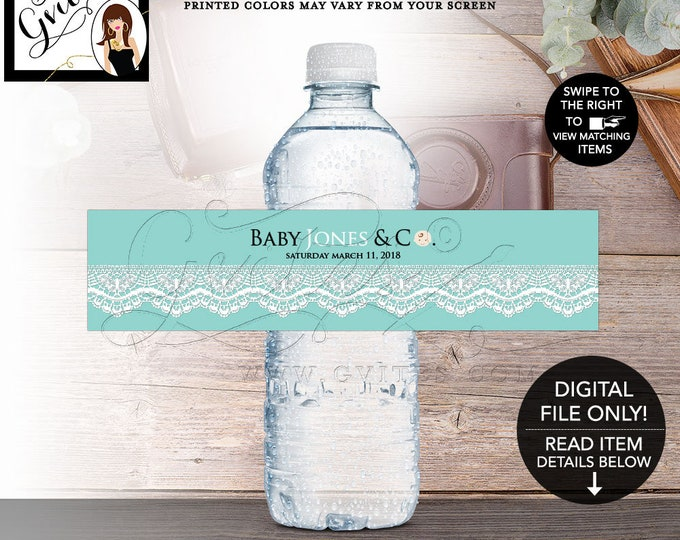 """Water Labels Baby Shower Baby and Co Boy Printable, Breakfast at, White Lace Ribbon Digital, DIY, 8x2""""/5 Per Sheet. Digital File Only!"""