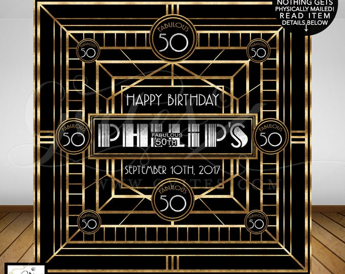 Fabulous 50th Great Gatsby Backdrop, birthday backdrops, personalized customizable Gatsby wall backdrop poster, READ item details below!