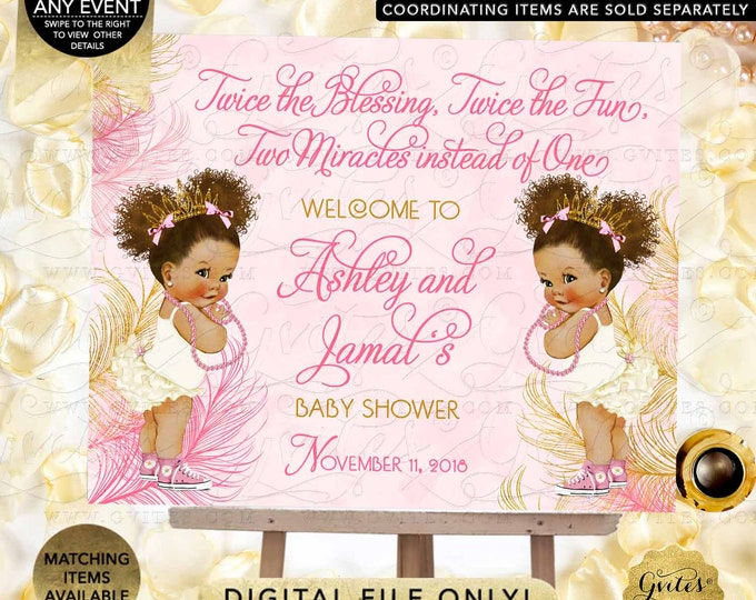 Twin Welcome Pink & Gold Sign Princess African American Girl Afro Puffs | JPG + PDF {Design: TWACE-104} By Gvites