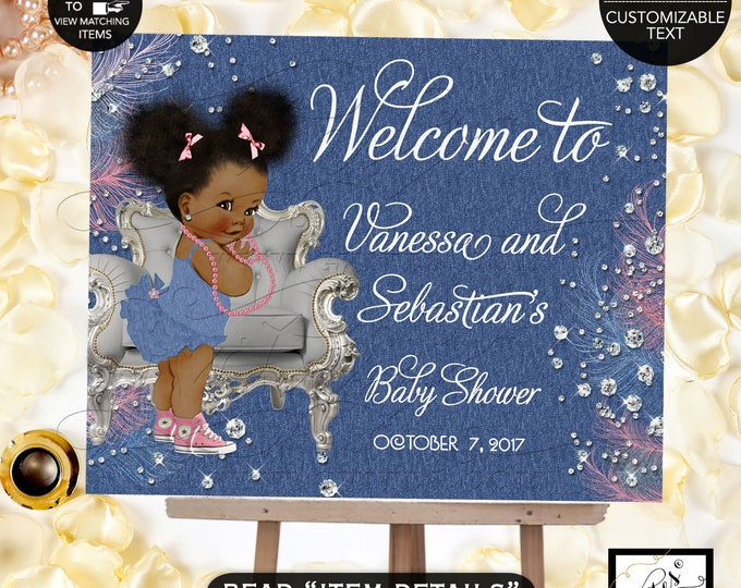 Denim & Diamonds Welcome baby shower sign, baby banner, baby shower sign, baby girl, banner. Pink blue and silver, Afro Puffs, Digital