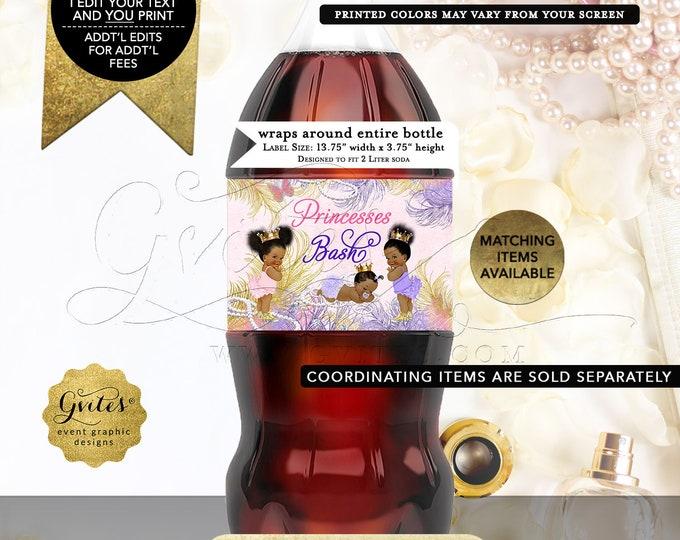 Princess Birthday Party Decorations, Soda Labels, Pink Gold Lavender. Digital File! JPG + PDF,  13.75x 3.75/2 Per Sheet.