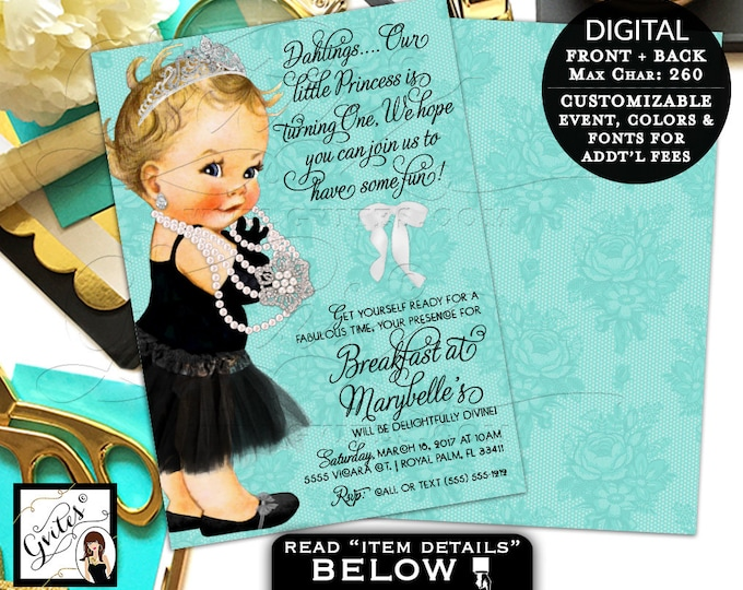 "First Birthday Invitation Breakfast at Baby and Co Ribbons Bows Diamonds and Pearls Baby Shower Printable Girl, Vintage, 5x7"" Gvites"