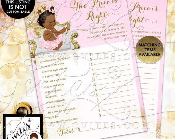 "INSTANT DOWNLOAD - The Price is Right Pink and Gold Cards Princess Baby Shower Vintage, 5x7"" 2/Per Sheet Dark/Jet {White/Gold Feathers}"