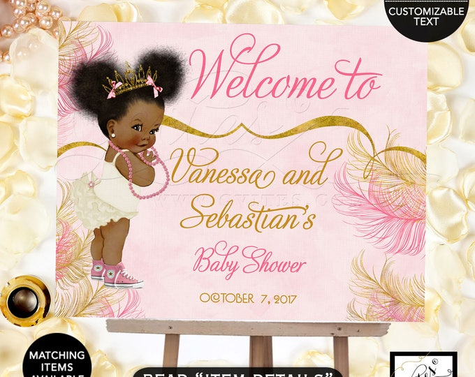 Pink and Gold welcome sign baby shower, princess african american baby girl, decorations, table signs, Afro Puffs Poster Digital File!