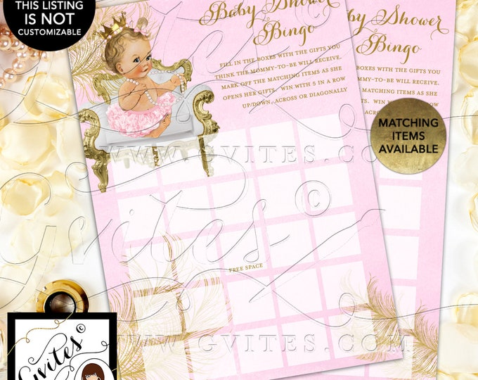 "INSTANT DOWNLOAD - Baby Shower Bingo Pink and Gold Cards Vintage, 5x7"" 2 Per Sheet {Baby/Caucasian Light/Blonde~~White/Gold Feathers}"