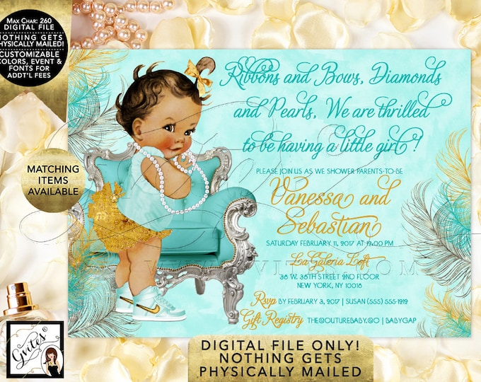 African American Baby Shower Invitation, Ribbons Bows Diamonds Pearls, Vintage Baby Girl, Turquoise Blue and Gold. Printable Invites, 7x5""