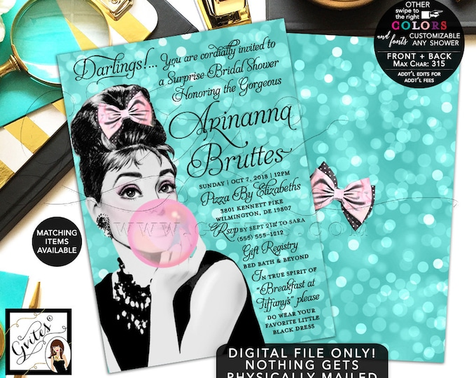 Surprise Bridal Shower Printable Invitation, Breakfast at Audrey Hepburn Party Blue Bubble Gum Bow Pink, Little Black Dress DIY 5x7