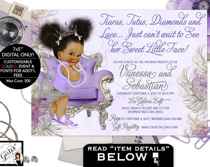 Baby shower gvites purple lavender and silver baby shower invitation princess african american baby girl afro puffs filmwisefo