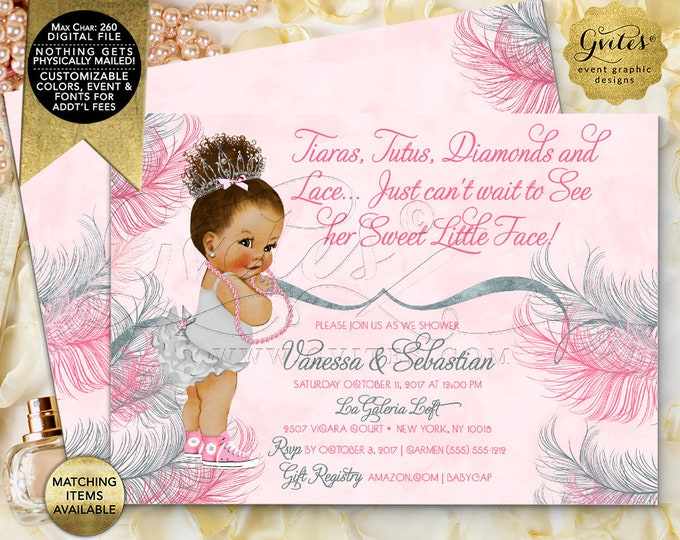 Tutus Tiaras Diamonds and Lace - Pink and Silver Baby Shower Invitations, Vintage Baby Girl Ethnic Afro Bun Curly Hair | Design: TIACE-105