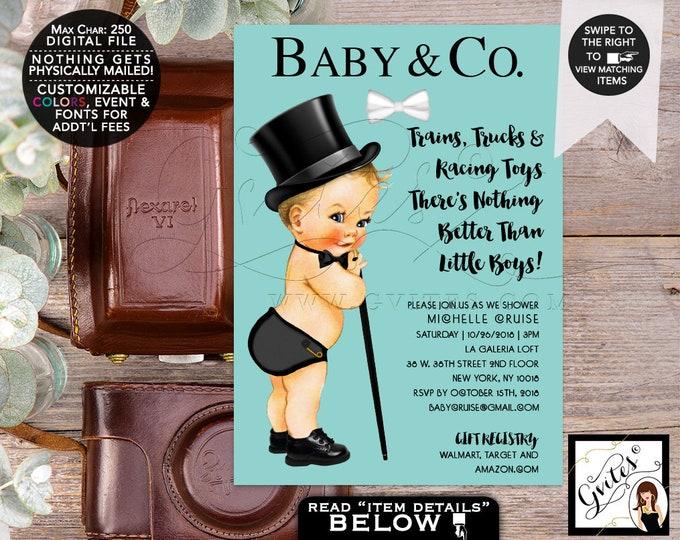 Baby & Co Baby Shower Boy Printable Invitations, Blue theme, trains trucks, top hat cane bowtie, breakfast at, DIY, Digital, Gvites.