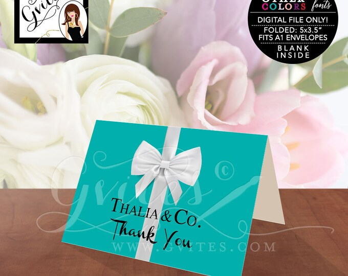 "Thank You Card Folded A1, Customizable Breakfast at theme bridal shower, blue white bow, birthday sweet 16. PRINTABLE. 5x3.5"" 2 Per/Sheet"