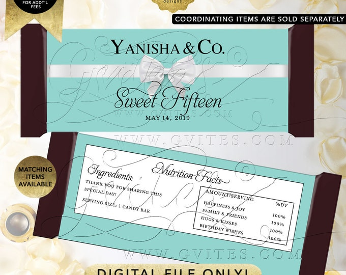 "Sweet Fifteen Candy Bar Wrappers Party Favors Gifts Digital PDF + JPG 2/Per Sheet 5.25x5.75"" By Gvites"