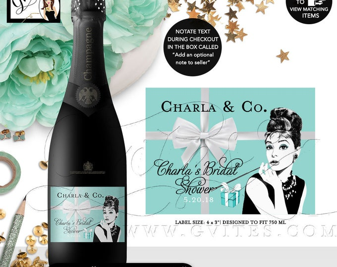 "Printable Audrey Hepburn Champagne Labels, Bridal Shower Favors, Decor, Stickers, Labels, Gifts, Digital, {4x3"" 6 Per Sheet}. Gvites"