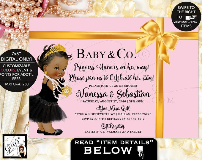 """Pink and Gold Baby and Co baby shower Invitation, Princess invitations, african american Audrey Hepburn baby DIGITAL FILE ONLY! 7x5"""" Gvites."""